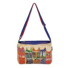 Long Neck Cats Laurel Burch Medium Feline Canvas Purse Cross-Body Tote Handbag