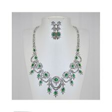 """NEW  CLEAR & EMERALD CZ CLUSTER BRIDAL- NECKLACE-EARRING-18"""""""