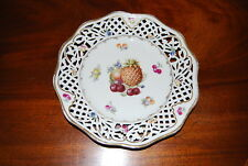 Old Schumann Us Zone Scalloped Reticulated Fruit Decorated Wall Cabinet Plate