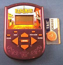HANGMAN + Free Battery ELECTRONIC HANDHELD BOARD GAME TRAVEL MB PURPLE LCD TOY