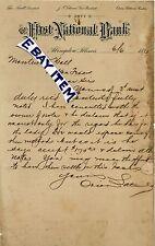 1895 First National Bank LETTERHEAD Abingdon ILLinois ORION LATIMER Thos NeweLL