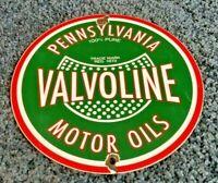 VINTAGE VALVOLINE GASOLINE PORCELAIN PENNSYLVANIA OIL SERVICE STATION PUMP SIGN
