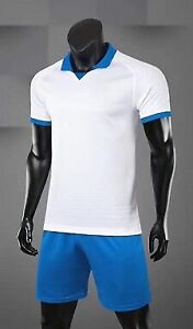 free shipping+name+number+socks white jersey blue shorts uniforms soccer uniform
