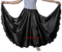 Black 360 Full Circle Satin Skirt Long Swing Belly Dance Costumes Jupe Röcke ATS