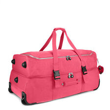 Kipling Teagan Wheeled Duffle Bag Rolling Suitcase Luggage Vibrant Pink NWT