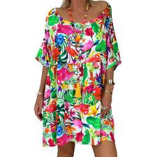 Womens Baggy Floral Tunic Dress Ladies Summer Loose Kaftan Sundress Plus Size