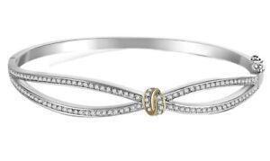 White gold finish round cut created diamond infinity love knot bangle gift Idea