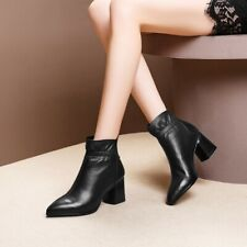 Buckle Zip Pointed Toe Stylish Leather Womens Ankle Boots Fashion Comfort Shoes
