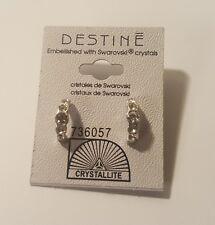 Destine Hoop Earrings Swarovski Crystals Silver Tone