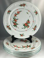 "Tabletops Unlimited Holly Berry 10 1/2"" Dinner Plates Set of 5"