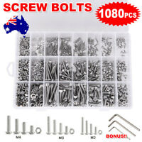 AU 1080X Hex Head Screws Bolts and Nuts Stainless Steel M2 M3 M4 Assortment Kit