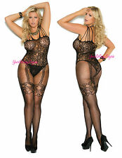 Plus Size LACE FISHNET Bodystocking FAUX GARTERS Floral Teddy CROTCHLESS Spandex