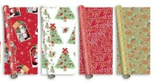 20m Christmas Gift Wrapping Paper 4x5m Roll Traditional Santa Holly Tree Wreath