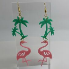Large Green Palm Tree  Flamingo Plastic Earrings 11 Cm Long I023 Summer Fun