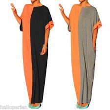 New Fashion Womens Stitching Dress Bat Sleeves Loose Comfy Dress Plus Size