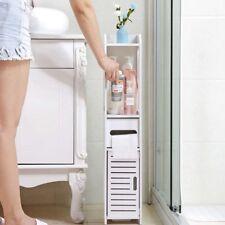 White Unit Bathroom Furniture Cabinet Wood Shelf / Wall Folating Storage UK
