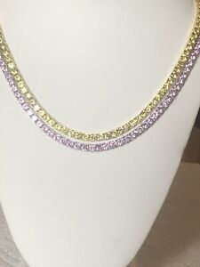 Set of 2 1 Row 4MM Necklace Canary Yellow & Pink Solitaire 18-24'' Tennis Chains