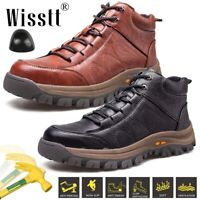 Men's Leather Safety Work Shoes Indestructible Steel Toe Ankle Boots Lightweight