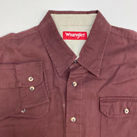 Wrangler Button Up Shirt Mens XL Red Long Sleeve Casual