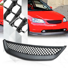 Matte Black ABS 3D Wave Mesh Front Bumper Grille/Grill for 01-03 Honda Civic