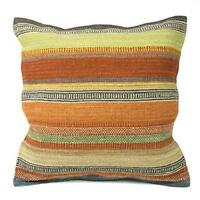 Fair Trade Ooty Stripe Kilim Cushion Covers Handwoven Wool/Cotton Sofa Decor