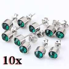 Silvery Round Ear Stud Earring 10pcs Fashion Green Crystal Stainless Steel
