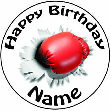"""Personalised Birthday Boxing Glove Punch Round 8"""" Easy Precut Icing Cake Topper"""