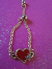 Bolo Ring Brass Red Heart Adjustable Chain Bolo Ring