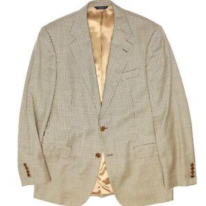 Brooks Brothers Mens Sport Coat 40R Gold Mini Check Loro Piana Wool Jacket Italy