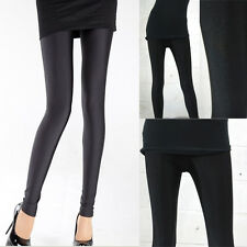 Women's Solid Black Solid Punk Metallic Leggings Slim Stretchy Pants Trousers OS