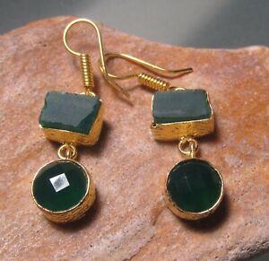 14K Gold plated brass green cut onyx & rough fluorite earrings. Gift bag.