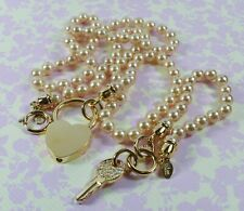 Joan Rivers Padlock And Crystal Set Key Faux Pearl Necklace and Bracelet Set