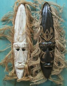 2 AFRICAN WOOD MASKS HAND CARVED HOME DECOR TRIBAL ART 20""