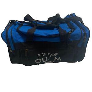 Port of Guam Duffle Bag Blue Black 2-Strap Handles Shoulder Strap Side Pockets