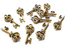 10 x Mini Gold Plated Heart Key Charms, 21mm, Jewellery Craft, Steampunk Vintage