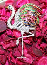 2.18ct DIAMOND RUBY EMERALD SAPPHIRE GEMSTONE 14k WHITE GOLD FLAMINGO BROOCH