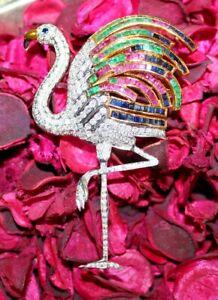 Black Friday 2.18ct DIAMOND RUBY EMERALD SAPPHIRE 14k WHITE GOLD FLAMINGO BROOCH