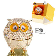 Handmade Crystal Metal Owl Trinket Boxes Figurine Jewelry Collectible Lady Gifts