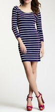 Jessica Simpson Dress Sz S Navy Blue White Striped 3/4 Sleeve Cocktail Party