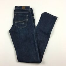 American Eagle Women's Dark Wash Low Rise Stretch Skinny Jeans Size 0