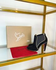 Christian Louboutin Loulou Boot 100 Black Suede Gold Piping Bootie 39, US 8.5