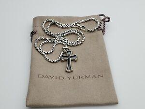 David Yurman 27mm Knife Edge Cross Enhancer and 22 in 2.7mm Box chain