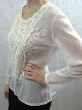 Megan Salmon Size 10 White Cotton Mesh Long Sleeved Top