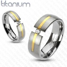 Girls/Ladies Titanium Brushed Gunmetal w Gold & CZ in Tension Accent Ring Size 5
