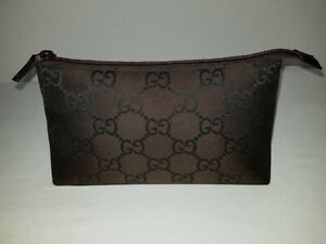 Gucci Authentic GG Brown Canvas & Leather Zip Top Cosmetic Accessory Pouch ITALY