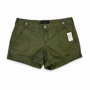 Aeropostale Women's Olive Green Cuffed Midi Twill Shorts Size 6 NWT