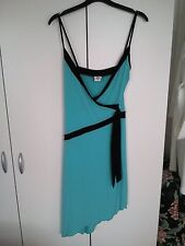 GLAMOUROUS Ladies Strappy Dress Size 8 Turquoise Stretch Asymmetric Style BNWOT