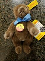 """STEIFF MINIATURE Mohair JOINTED BEAR Light Brown teddy 5""""  tags and pin 0202/14"""