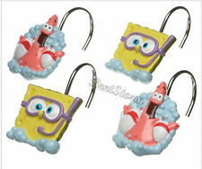 Spongebob Squarepants & Patrick 12 Bathroom Shower Curtain Hooks Nickelodeon NEW