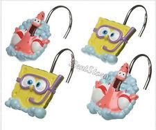 NEW Spongebob Squarepants & Patrick 12 Bathroom Shower Curtain Hooks Nickelodeon